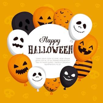 Feliz marco de halloween con globos h