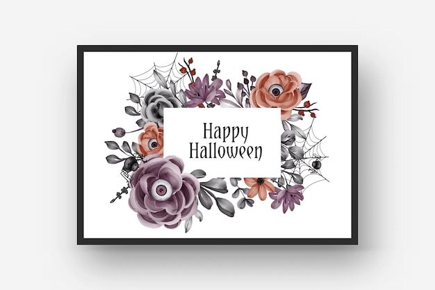Feliz marco de halloween con ojos de flores de miedo
