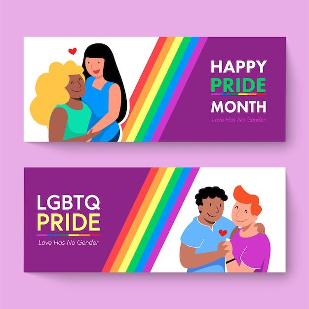 Feliz mes del orgullo lgbtq banners