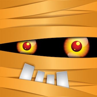 Feliz momia de halloween ojos