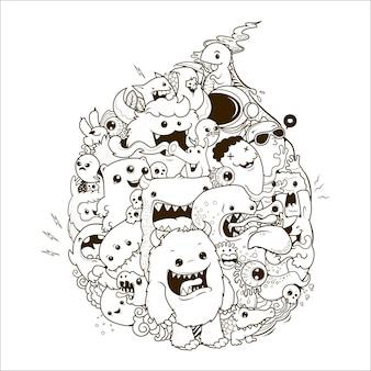 Feliz, monstruo, garabato, ilustración