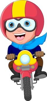 Feliz, motociclista, caricatura, aislado, blanco, plano de fondo