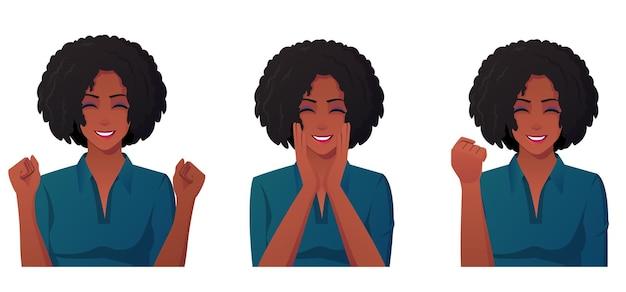 Feliz mujer afroamericana emocionada y sonriente, celebrando el éxito de la mujer.