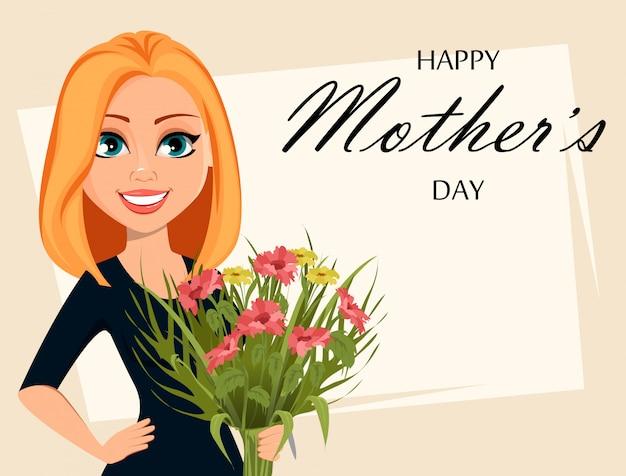 Feliz mujer atractiva con un ramo de flores