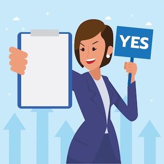Feliz mujer corporativa hizo su trabajo como visión y misión y celebrando, el éxito del liderazgo y el concepto de progreso profesional, ilustración plana