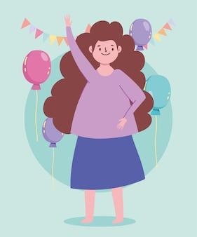 Feliz mujer de dibujos animados celebración fiesta globos banderines