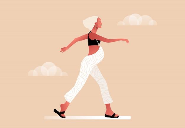 Feliz mujer embarazada caminando. activo bien equipado personaje femenino embarazada. feliz embarazo yoga y deporte para embarazadas. ilustración de dibujos animados plana