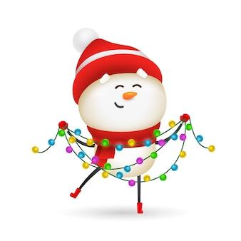 Feliz muñeco de nieve celebrando la navidad