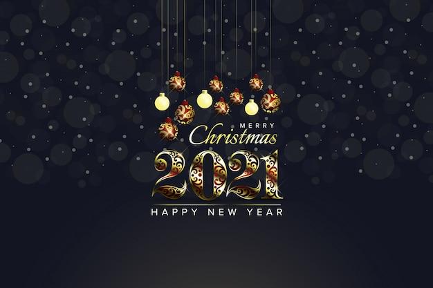 Feliz navidad 2021 y feliz año nuevo fondo