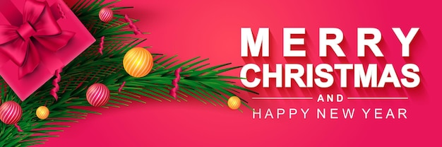 Feliz navidad 2022 y próspero año nuevo banner cartel de vacaciones de navidad caja de regalo ramas de pino