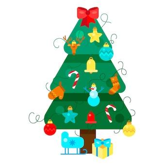 Feliz navidad abeto. árbol de navidad. feliz año nuevo ilustración. elementos de diseño de navidad para invitación de vacaciones, saludo, tarjeta y título, título, pegatina, emblema, impresión, imán. vector