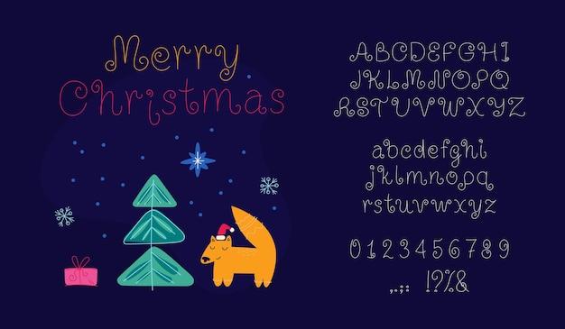 Feliz navidad alfabeto para vacaciones año nuevo línea arte fuente fina tipografía números símbolos