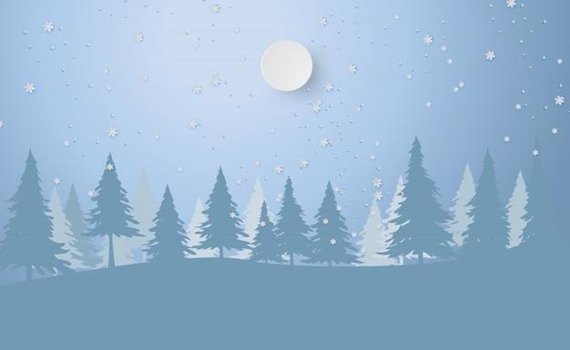 Feliz navidad y año nuevo con bosque invernal