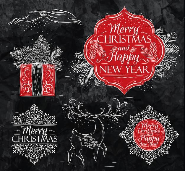 Feliz navidad y año nuevo colección tiza