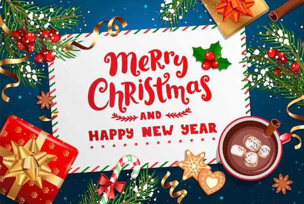 Feliz navidad y año nuevo deseando carta.