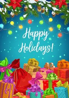 Feliz navidad y año nuevo, feliz celebración de vacaciones de invierno