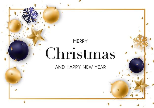 Feliz navidad y año nuevo de fondo.