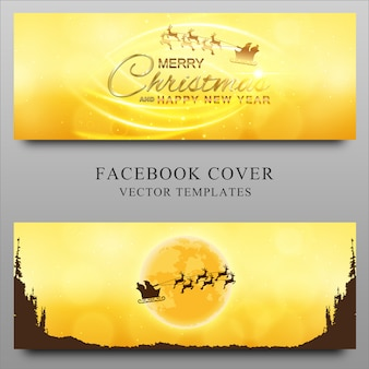 Feliz navidad y año nuevo plantilla de diseño de portada de línea de tiempo de facebook