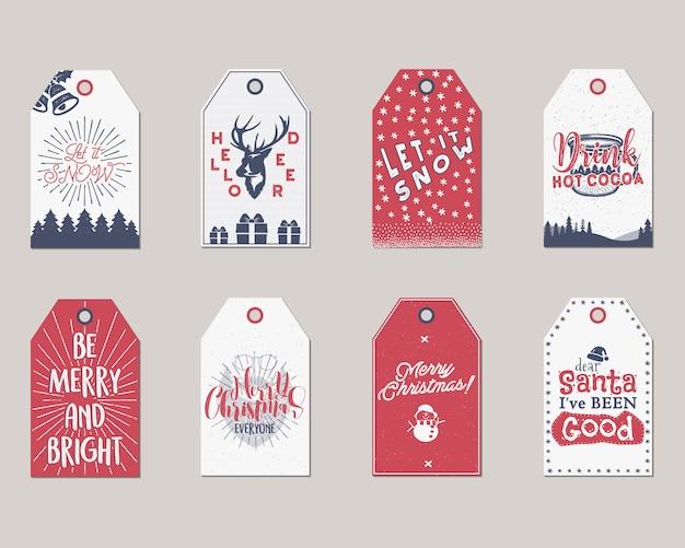 Feliz navidad y año nuevo regalo etiquetas o etiquetas de colección.