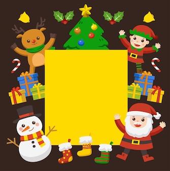 Feliz navidad y año nuevo tarjeta de felicitación. niños lindos vestidos con trajes de navidad.