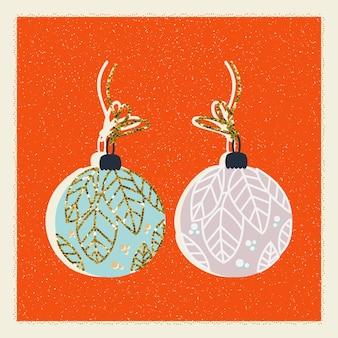 Feliz navidad y año nuevo tarjeta retro con bolas. saludos de invierno en vector
