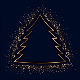 Feliz navidad árbol creativo hecho con destellos dorados