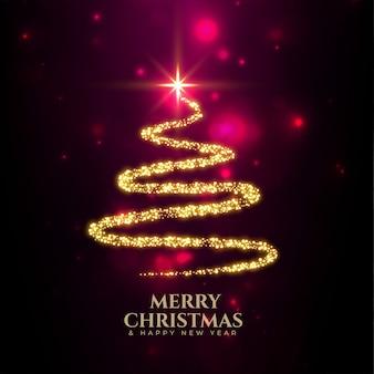 Feliz navidad árbol creativo hecho con destellos dorados.