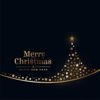 Feliz navidad árbol creativo hecho con estrellas