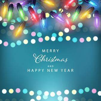 Feliz navidad backgrond con luces de colores