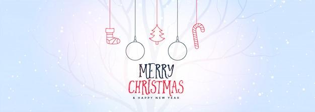 Feliz navidad bandera blanca con elementos decorativos