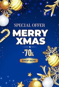 Feliz navidad banner azul con bola estrella decoración de copos de nieve