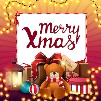 Feliz navidad, banner de descuento cuadrado rosa y amarillo