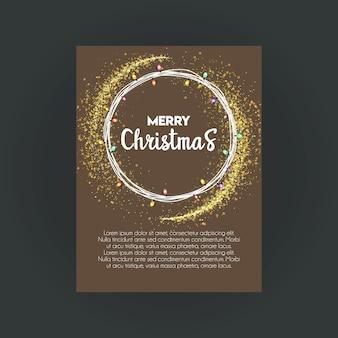 Feliz navidad bokeh plantilla de tarjeta de invitación de fondo