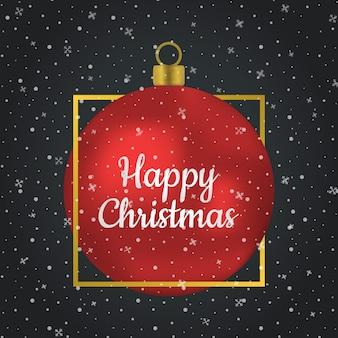 Feliz navidad bola de cristal rojo en oro cuadrado, marco