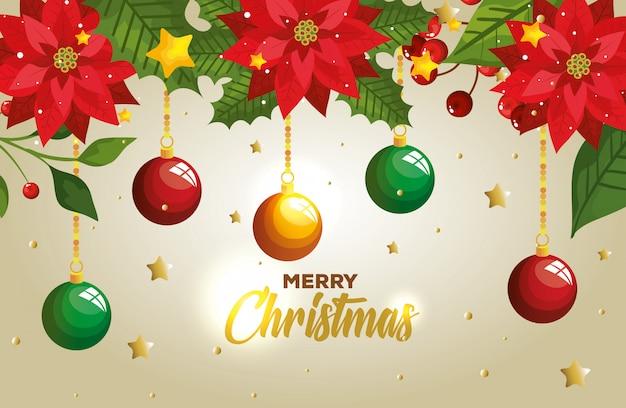 Feliz navidad con bolas colgando y tarjeta de decoración