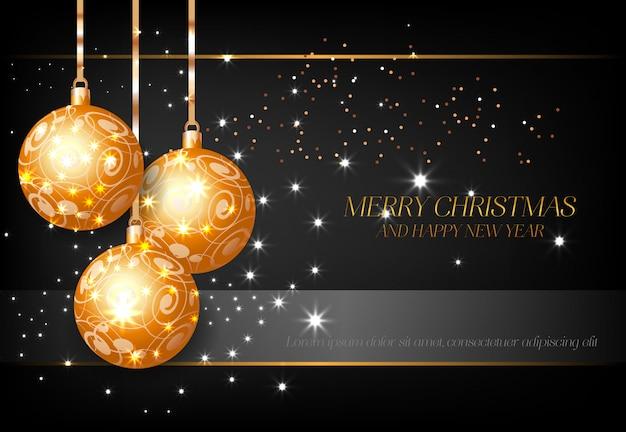 Feliz navidad con bolas decorativas doradas diseño de cartel.