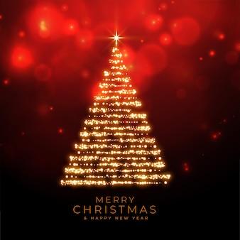 Feliz navidad brilla el árbol sobre fondo rojo bokeh