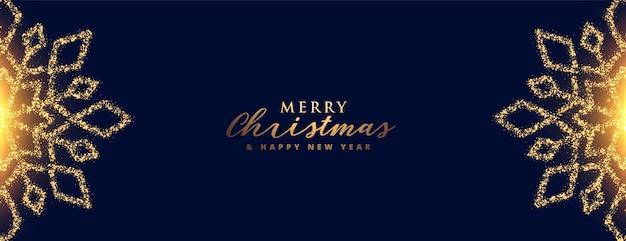 Feliz navidad brilla diseño de banner de copos de nieve dorados