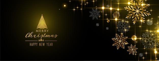 Feliz navidad brillante destellos copos de nieve banner dorado