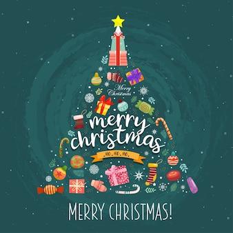 Feliz navidad con cajas de regalo coloridas adornadas en el árbol de navidad.