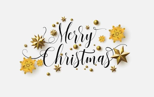 Feliz navidad caligrafía con un fondo blanco y estrellas brillantes