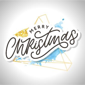 Feliz navidad caligrafía. letras de pincel moderno manuscritas con acuarela splash