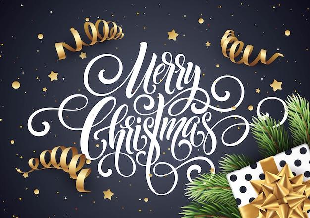 Feliz navidad caligrafía manuscrita letras, tarjeta de felicitación de navidad