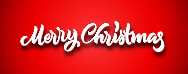Feliz navidad caligráfico letras dibujadas a mano con volumen sobre fondo rojo.