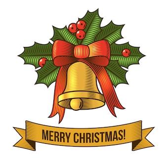 Feliz navidad con campana retro ilustración