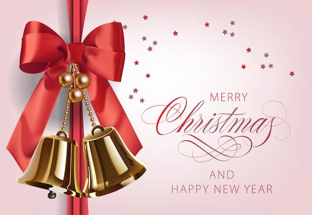 Feliz navidad con campanas de oro.