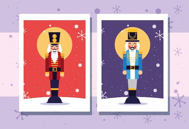 Feliz navidad cascanueces y copos de nieve