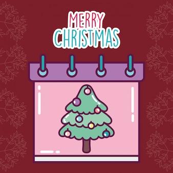 Feliz navidad celebración calendario recordatorio decoración del árbol