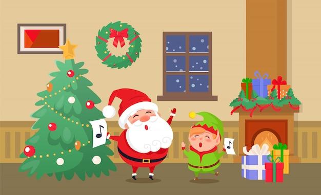 Feliz navidad celebración de duende y santa claus