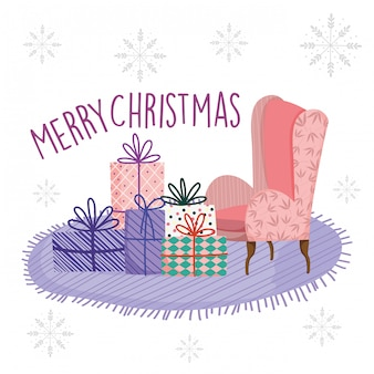 Feliz navidad celebración sala sofá alfombra con regalos